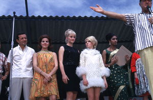 """U. S. O. Tour"" (Southeast Asia - Vietnam)Vic Damone, Anita Bryant, Joey Heatherton, Rita Faria (Miss World), and Bob Hope, 1966.Photo by Gerald Smith - Image 13450_0021"