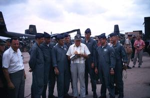 """U. S. O. Tour"" (Southeast Asia - Vietnam)Bob Hope and flight crew, 1966.Photo by Gerald Smith - Image 13450_0025"