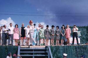 """U. S. O. Tour"" (Southeast Asia - Vietnam)Bob Hope with Vic Damone, Anita Bryant, Joey Heatherton, Rita Faria (Miss World), Phyllis Diller, and the Koren Kittens, 1966.Photo by Gerald Smith - Image 13450_0028"