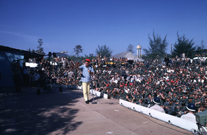 """""""U. S. O. Tour"""" (Southeast Asia - Vietnam)Bob Hope and his audience, 1966.Photo by Gerald Smith - Image 13450_0029"""