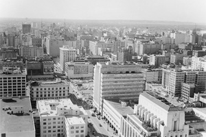 Historical CategoryLooking South from City Hall at 1st and Spring Street, Los Angeles, CA1960Photo by Leo Caloia**K.B. - Image 13480_0007
