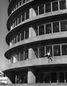 Dancer on unfinished Capitol Records building1956 © 1978 Lou Jacobs Jr. - Image 13480_0045