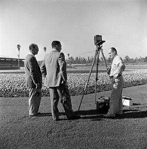 """""""Santa Anita Racetrack""""Photographer Herman V. Wall at far rightcirca 1955 © 1978 Herman V. Wall - Image 13607_0002"""