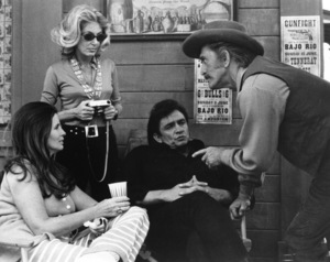 """A Gunfight""June Carter Cash, Anne Buydens, Johnny Cash, Kirk Douglas1971 Harvest** I.V. - Image 13786_0006"