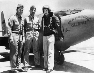 Captain Charles E. Yeager, Major Gus Lundquist and Captain James Fitzgerald standing before the Bell XS-1, Glamorous Glennis, at the Murac, California, Air Base1948 - Image 13887_0001