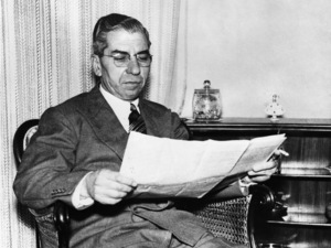 """Charles """"Lucky"""" Luciano reading newspapers at home in Naples, Italy1955 - Image 13924_0003"""