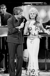 """""""Merv Griffin Show, The"""" Merv Griffin with Charo, c. 1969 © 1978 Chester Maydole - Image 14113_0003"""