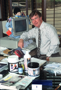 Larry WilcoxIn his home office 1996 © 1996 Gene Trindl - Image 14490_0006