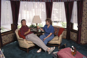 Ron Masak at home with his wife Kay Knebes1996 © 1996 Gene Trindl - Image 14545_0002