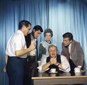 """Death of a Salesman""Photographer Gabi Rona, James Farentino, Mildred Dunnock, Lee J. Cobb, George Segal1966Photo by Gabi Rona - Image 1479_0004"
