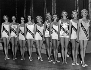 """""""Pageants: Miss U.S.A.""""The ten finalists in the Miss America contest pose in group for the judges1957 - Image 14919_0002"""
