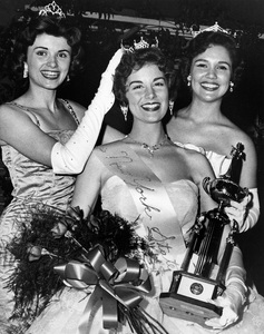 """""""Pageants: Miss America""""Bonnie Joe Marquis (center) is crowned Miss New York State.  At left is Miriam Sanderson, last year"""