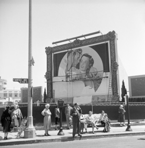 """Painters working on a billboard for the film """"Macao,"""" featuring Robert Mitchum and Jane Russell1952© 1978 David Sutton - Image 14983_0002"""