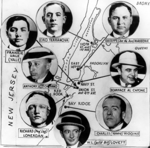 "Frankie Uale (Yale), Ciro Terranova, Giuseppe ""Joe the Boss"" Masseria, Anthony ""Little Augie Pisano"" Carfano, Scarface Al Capone, Richard Joseph ""Peg Leg"" Lonergan, William J. ""Wild Bill"" Lovett, Charles ""Vannie"" Higginscirca 1920s - Image 15003_0001"