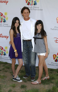 """Bruce Jenner and the Kardashian sisters (Kendall and Kylie) arrive at the """"A Time for Heroes"""" carnival for pediatric AIDS in Westwood, CA at the Wadsworth Theater June 8, 2008© 2008 Gary Lewis - Image 16168_0004"""