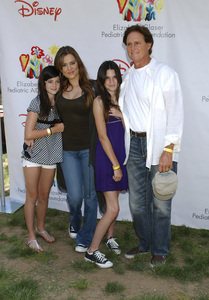 """Bruce Jenner and the Kardashian sisters (Kylie, Khloe and Kendall) arrive at the """"A Time for Heroes"""" carnival for pediatric AIDS in Westwood, CA at the Wadsworth Theater June 8, 2008© 2008 Gary Lewis - Image 16168_0005"""