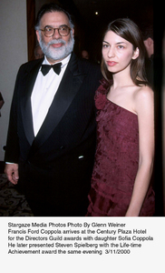 """""""Directors Guild Awards - 52nd Annual,""""Francis Ford Coppola with daughter Sofia.3/1//00. © 2000 Glenn Weiner - Image 16345_0102"""