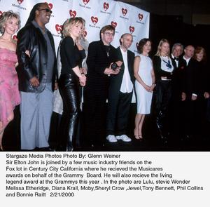"""Musicares Year Award,""Lulu, Stevie Wonder, Melissa Etheridge, Diana Krall,Moby, Sheryl Crow, Jewel, Tony Bennett, Phil Collins,and Bonnie Raitt.  2/21/00. © 2000 Glenn Weiner - Image 16685_0102"