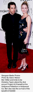 """Project A.L.S. -  2nd Annual,""Ben Stiller and Christine Taylor.4/10/00. © 2000 Glenn Weiner - Image 16687_0109"