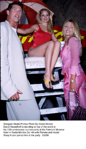 """Baywatch 10th Anniversary Party,""David Hasselhoff with wife Pamelaand model Stacy Fuson.  5/02/00. © 2000 Glenn Weiner - Image 16823_0104"