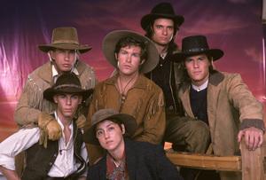 """The Young Riders""Stephen Baldwin, Travis Fine, Ty Miller, Yvonne Suhor, Josh Brolin, Gregg Rainwater1989 © 1989 Mario Casilli - Image 16837_0012"