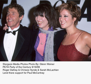 """PETA Party,"" Roger Daltray, ChrissisHynde, and Sarah McLachlan. © 1999 Glenn Weiner - Image 16992_0109"