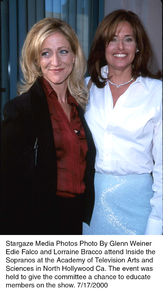 """Inside The Sopranos,""Edie Falco and Lorraine Bracco.7/17/00. © 2000 Glenn Weiner - Image 17013_0102"