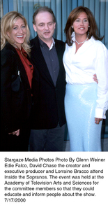 """Inside The Sopranos,""Edie Falco, David Chase, and Lorraine Bracco.7/17/00. © 2000 Glenn Weiner - Image 17013_0103"
