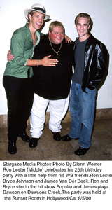 """Ron Lesters Birthday Party,""Bryce Johnson, Ron Lester, andJames Van Der Beek.  8/5/00. © 2000 Glenn Weiner - Image 17110_0100"
