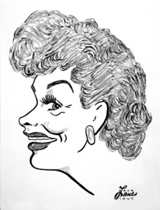 Lucille Ball1947Celebrity Caricatures © 1978 Jack Lane - Image 17150_0010