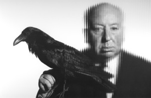 Alfred Hitchcock holding a bird 1958 Photo by Gabi Rona - Image 17_300