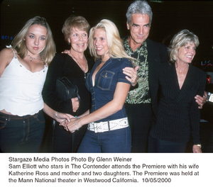 """""""Contender, The"""" Premiere.Sam Elliot with his wife Katharine Rossand two daughters.  10/5/00. © 2000 Glenn Weiner - Image 17245_0108"""
