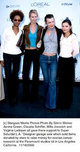 Janine Green, Claudia Schiffer, Milla Jovovich, Virginie Ledoyen.  Designer Garage Sale, 11/18/00. © 2000 Glenn Weiner - Image 17320_0104