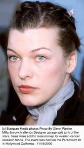 Milla JovovichDesigner Garage Sale, 11/18/00. © 2000 Glenn Weiner - Image 17320_0105