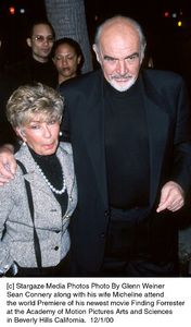 "Sean Connery, wife Micheline""Finding Forrester"" Premiere, 12/1/00. © 2000 Glenn Weiner - Image 17336_0101"