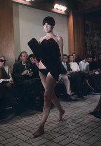 Peggy Moffitt modeling Rudi Gernreich