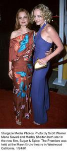 "Mena Suvari, Marley Sheltonattends the ""Sugar and Spice"" Premiere, 1/24/01. © 2001 Scott Weiner - Image 17630_0106"