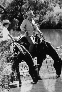 """Big Jake,"" Batjac/Cinema Center 1970.John Wayne and his son, Ethan. © 1978 David Sutton - Image 1798_0028"