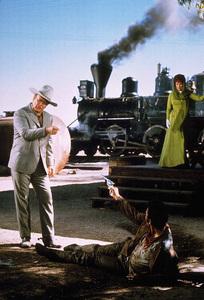 """""""Big Jake,"""" Batjac/Cinema Center 1970.John Wayne, Patrick Wayne, and Maureen O"""
