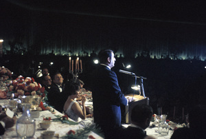 """""""Cedars-Sinai Benefit / Party""""(at microphone) Danny Thomas (seated to his left) Elizabeth Taylor, Robert F. Kennedy, Kirk Douglas, Jack Bennycirca 1961 / The Beverly Hilton © 1978 David Sutton - Image 1807_0001"""