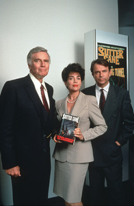 """""""In the Mouth of Madness"""" Charlton Heston, Julie Carmen and Sam Neill © 1994 New Line CinemaPhoto by S. Harvey - Image 1841_0001"""