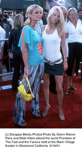 © Stargaze Media Photos Photo By Glenn WeinerParis and Nikki Hilton attend the world Premiere ofThe Fast and the Furious held at the Mann Villagetheater in Westwood California  6/18/01 - Image 18567_0112