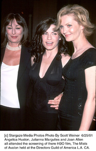 © Stargaze Media Photos Photo By Scott Weiner  Anjelica Huston, Julianna Margulies and Joan Allenall attended the screening of there HBO film, The Mists of Avalon held at the Directors Guild of America L.A. CA., 6/25/01 - Image 18617_0100