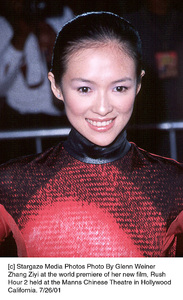 Zhang Ziyi at the world premiere of her new film, RushHour 2 held at the Manns Chinese Theatre in HollywoodCalifornia. 7/26/01. © 2001 Glenn Weiner - Image 18861_0125