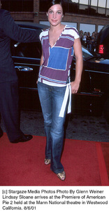 Lindsay Sloane arrives at the Premiere of AmericanPie 2 held at the Mann National theatre in WestwoodCalifornia. 8/6/01. © 2001 Glenn Weiner - Image 19048_0117