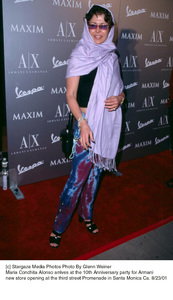 Maria Conchita Alonso arrives at the 10th Anniversary party for Armani new store opening at the third street Promenade in Santa Monica Ca. 8/23/01. © 2001 Glenn Weiner - Image 19279_0123