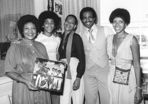 """The Sylvers (public affairs staff, Foster Sylvers,  Angie Sylvers, Eric """"Rico"""" Reed) visiting KJLH radio station in Los Angeles 1979 © 1979 Bobby Holland - Image 19575_0063"""