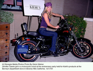 Jennifer Gareis got in a motorcycle mood at the anniversary party held for Kiehl