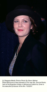 Drew Barrymore at the premiere of the new film, Donnie Darko held at the Egyptian theatre in Hollywood California. Drew is the executive producer of the film. 10/22/01. © 2001 Glenn Weiner - Image 19647_0100