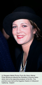 Drew Barrymore attends the Premiere of Donnie Darko which she is the executive producer of the film. The premiere was held at the Egyptian theatre in Hollywood California. 10/22/01. © 2001 Glenn Weiner - Image 19647_0102